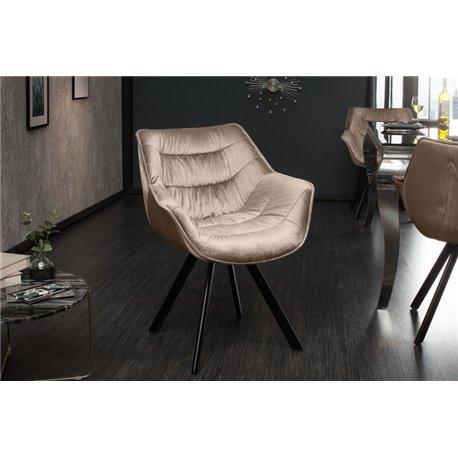 Luxusná stolička Ayax zamat krémová