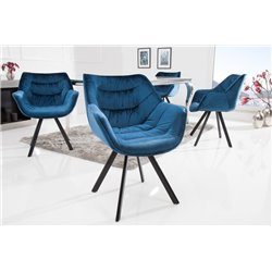 Stolička Ayax s opierkami zamat modrá