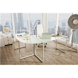 Písací stôl stôl Master v tvare L sklo biely