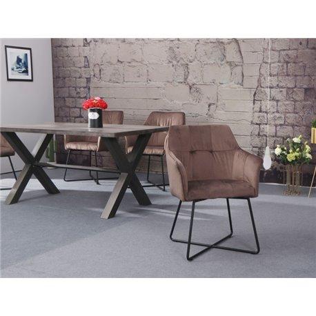Stolička Loft zamat cappuccino hnedá