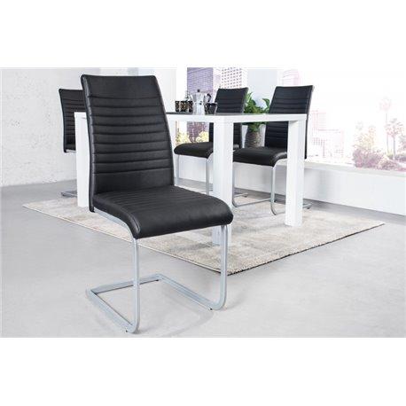 Konzolová stolička Flat čierny chróm