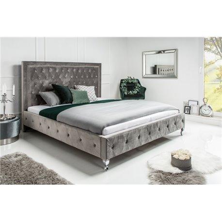 Extravagantná posteľ 160 x 200 cm strieborná šedá