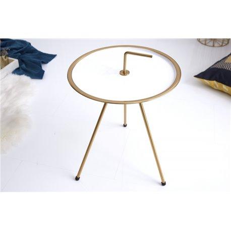 Bočný stolík 42 cm biele zlato