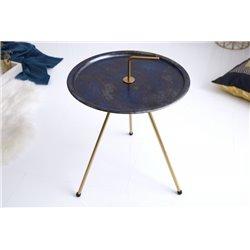 Sada bočných stolíkov Plain 42 cm modrá zlatá (2ks)
