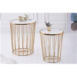 Sada 2 bočných stolov Boutique 42 cm kov biely zlatý