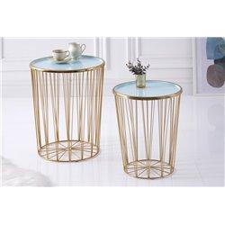 Sada 2 bočných stolov Boutique 42 cm kov tyrkysový zlatý