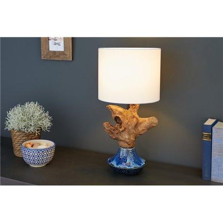 Stolová lampa Symbiosis 50 cm - keramická / naplavené drevo
