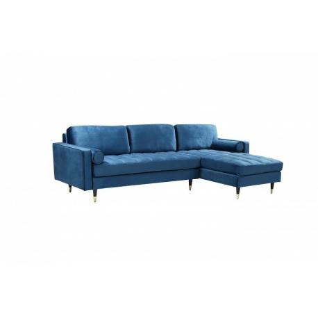 Rohový gauč do L Snug 260 cm tmavomodrá zamat