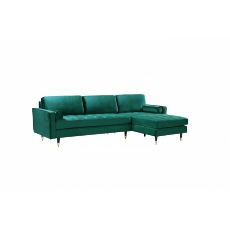Rohový gauč do L Snug 260cm smaragdovo zelená